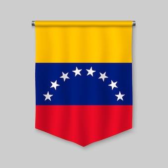 Realistischer wimpel 3d mit flagge von venezuela