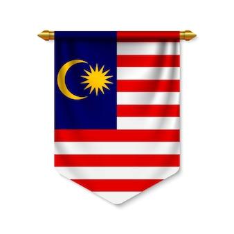 Realistischer wimpel 3d mit flagge