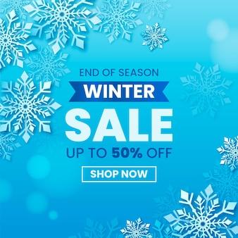 Realistischer winterschlussverkauf mit rabatt