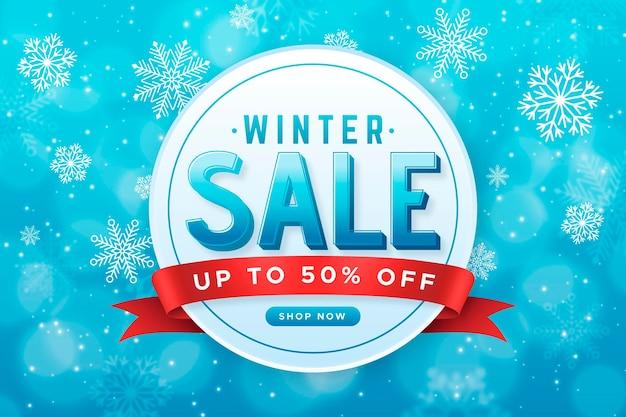 Realistischer winterschlussverkauf mit schneeflocken