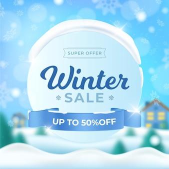 Realistischer winterschlussverkauf und verschwommene häuser