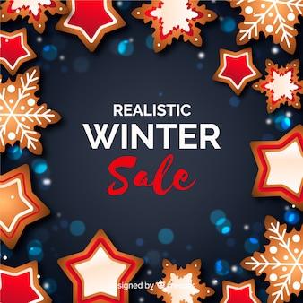 Realistischer winterschlussverkaufhintergrund