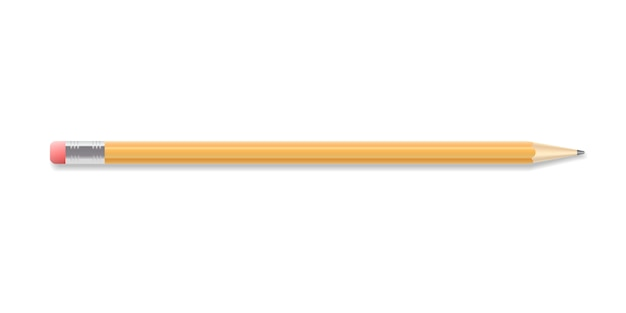 Realistischer zeichenstift mit gummiende. geschärftes detailliertes grafikdesignelement. bürobedarf, schulmaterial. isoliert auf weißem hintergrund. vektor-illustration