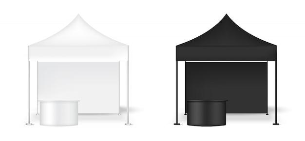 Realistischer zelt-anzeigen-wand pop-stand mit tabelle