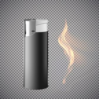 Realistischer zigarettenanzünder. illustration lokalisiert auf grauem hintergrund.
