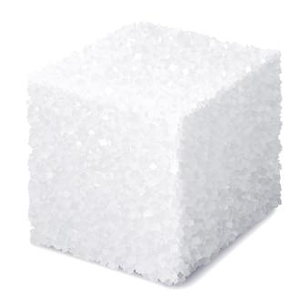 Realistischer zuckerwürfel lokalisiert auf weißem hintergrund