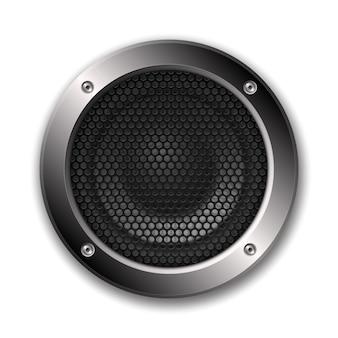Realistisches 3d-audio-lautsprechersymbol mit netz