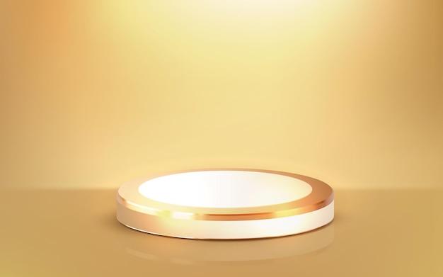 Realistisches 3d-luxusgoldpodium-goldenes bühnenstandprodukt
