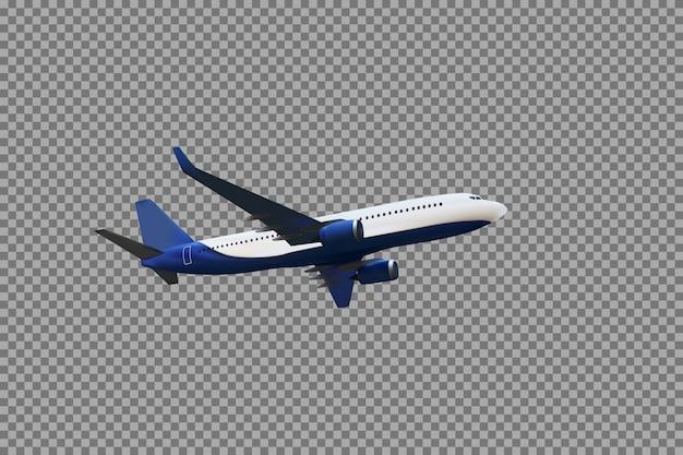 Realistisches 3d-modell eines flugzeugs, das in der luft der weißen und blauen färbung auf einem transparenten hintergrund fliegt. vektor-illustration