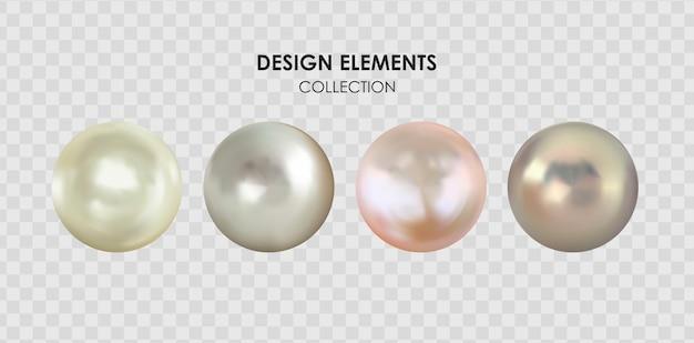 Realistisches 3d-perlensammlungsset isoliert