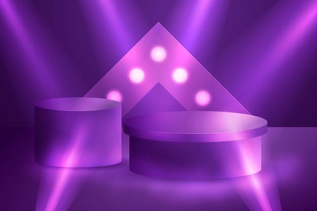 Realistisches 3d-podium mit lichtern