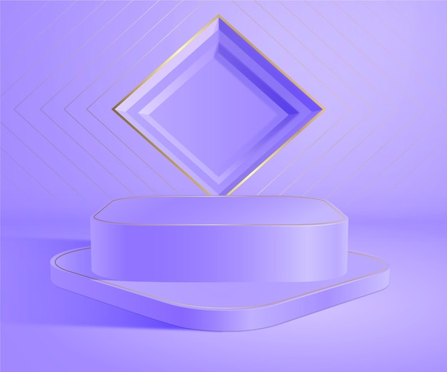 Realistisches 3d-schmuck-vitrinenpodium