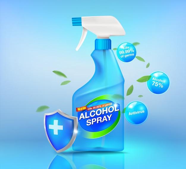 Realistisches alkoholspray-reinigungsset desinfizieren von reinigungsprodukten covid-19-viren, bakterien und verschiedene verunreinigungen für werbung, etiketten, desinfektionsprodukte und wundreiniger.