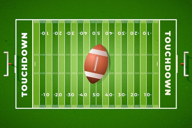 Realistisches amerikanisches fußballfeld in draufsicht