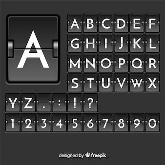 Realistisches anzeiger-stil-alphabet