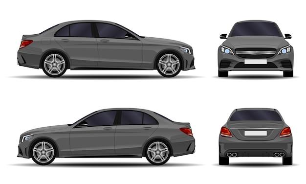 Realistisches auto. limousine. vorderansicht; seitenansicht; rückansicht.