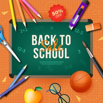 Realistisches back-to-school-verkaufsbanner