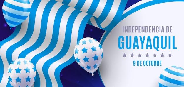 Realistisches banner der unabhängigkeit von guayaquil