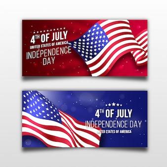 Realistisches banner des unabhängigkeitstags von amerika