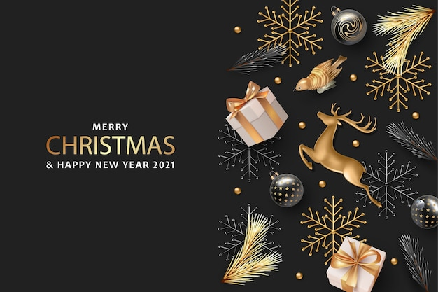 Realistisches banner für frohe weihnachten und ein gutes neues jahr mit goldenen hirschen und weihnachtsdekorationen