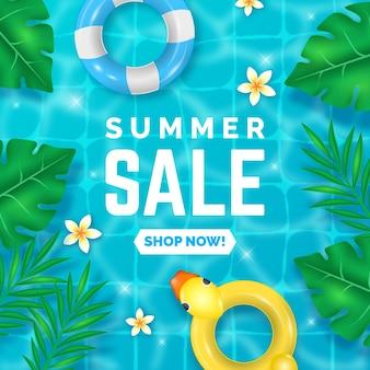 Realistisches banner für sommerverkauf