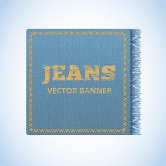 Realistisches banner von jeans. realistisches denim-banner mit textur und fransen.
