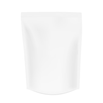 Realistisches beuteltaschenmodell. reißverschlusspaket mit schatten. kaffee, tee und andere produktverpackungen. weißes 3d-verpackungsmodell lokalisiert auf weißem hintergrund