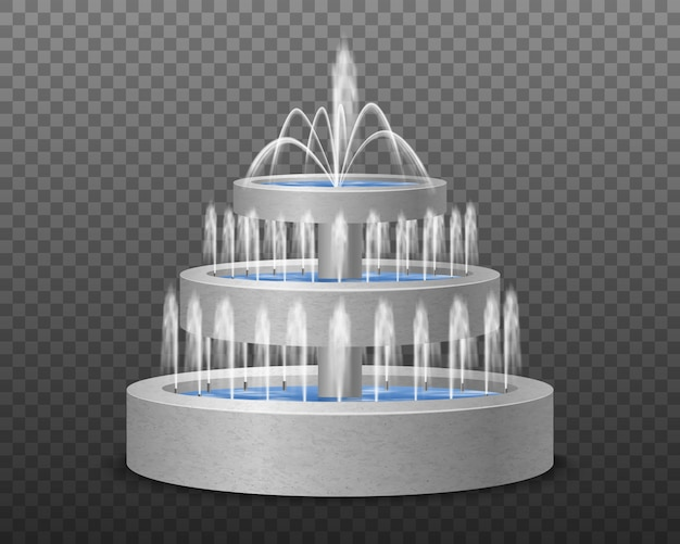 Realistisches bild des dekorativen wasserbrunnens der modernen art des abgestuften gartens drei im freien gegen dunkle transparente illustration