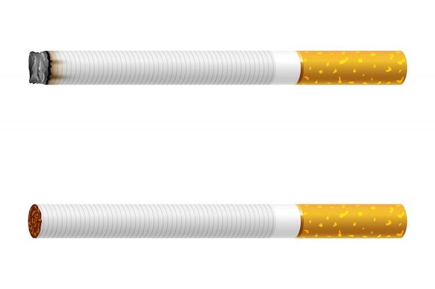Realistisches bild einer klassischen brennenden zigarette mit tabak, lokalisiert auf weißem hintergrund.
