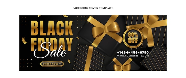 Realistisches black friday-facebook-cover