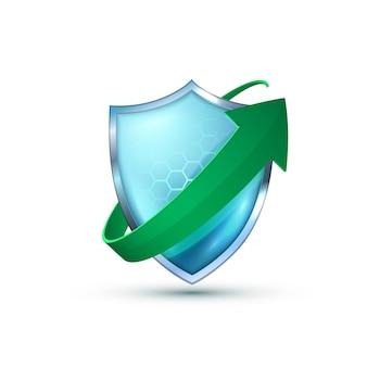 Realistisches blaues glas 3d-schutzschildsymbol mit kurvenpfeil. pfeilsymbole für sicherheitsabzeichen. sicherheitsrenovierungsetikett. verteidigung-tag. präsentation renovierungsformen. verteidigungsschutzschildzeichen