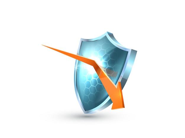 Realistisches blaues glas-3d-schutzschildsymbol mit reflektiertem orangefarbenem pfeil. symbol des schutzes und der reflexion der bedrohung. symbol für sicherheitsabzeichen. verteidigung-tag. vektor-sicherheitsvorlage. schutzschild