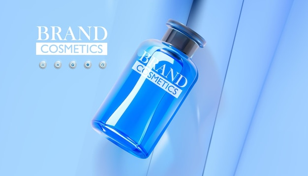 Realistisches blaues glas für kosmetik-foundationscreme-gel-hautpflege auf blauem hintergrund blue