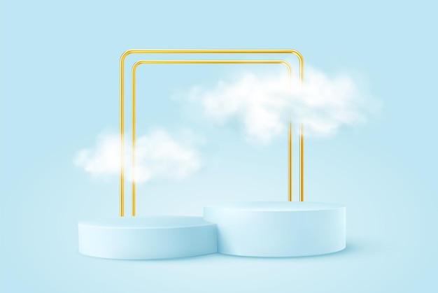 Realistisches blaues produktpodest mit goldenem rundbogen und wolken