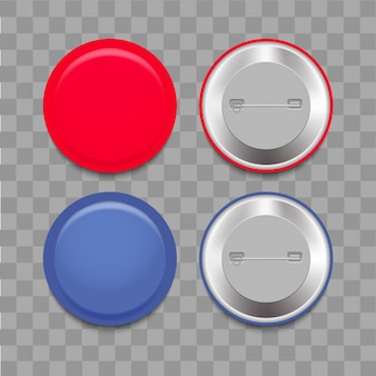 Realistisches blaues und rotes Abzeichen mit weichem Schatten