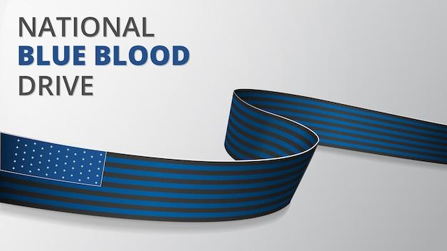 Realistisches blaues und schwarzes band. vektor-illustration. nationaler blue blood drive. unterstützung der amerikanischen strafverfolgungsbehörden. bedenken von polizei-überlebenden. grauer hintergrund.