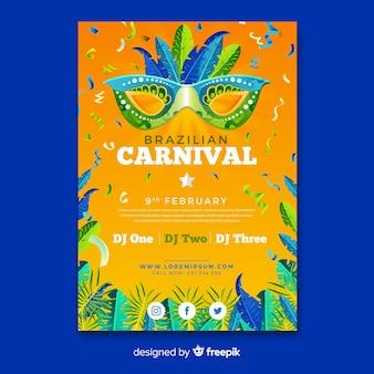 Realistisches brasilianisches karnevalsparteiplakat
