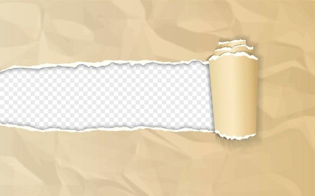 Realistisches braunes zerknittertes papier mit gerollter kante auf transparentem hintergrund