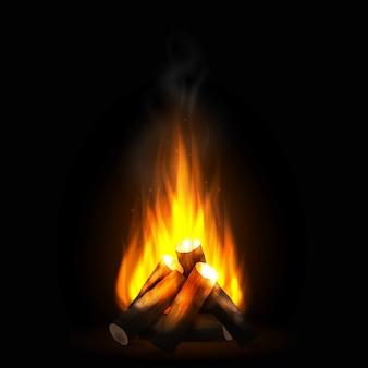 Realistisches brennendes feuer mit holz
