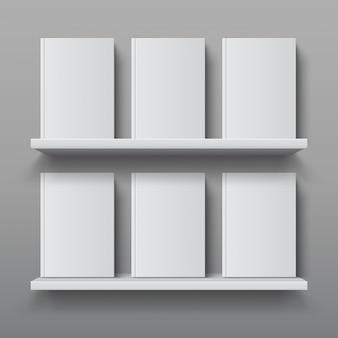 Realistisches bücherregal mit büchern. bibliothek regal modell, moderne büro bücherregal, sperrholz wandregal vorlage