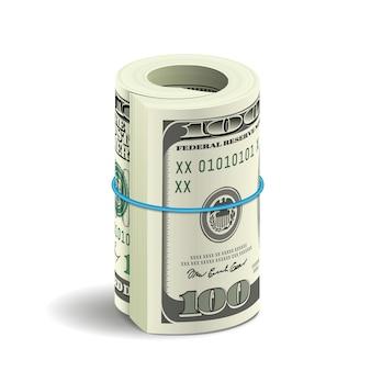 Realistisches bündel von dollarnoten lokalisiert auf weißem hintergrund mit schatten