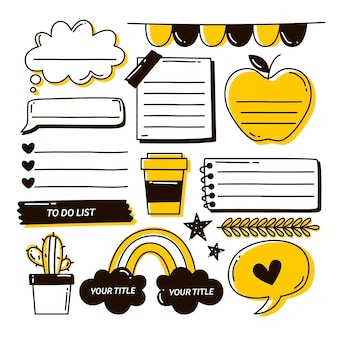 Realistisches bullet journal mit kritzeleien und zeichnungen
