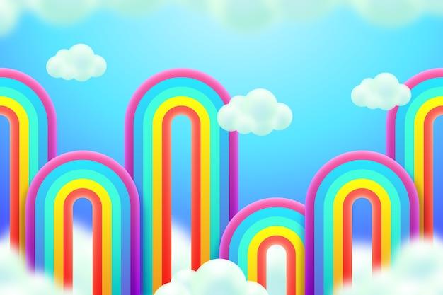 Realistisches buntes regenbogenkonzept