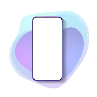 Realistisches buntes smartphone-modell 3d. vorlage für infografiken und ui-design. telefonrahmen mit isolierten vorlagen der leeren anzeige.
