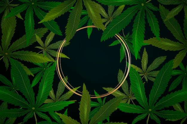 Realistisches cannabis verlässt den hintergrund Premium Vektoren