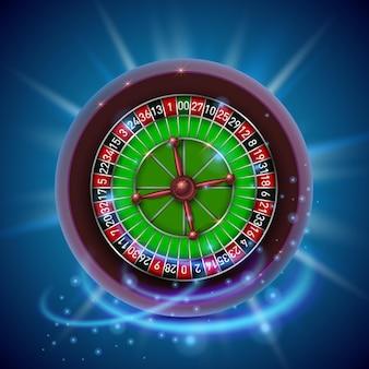 Realistisches casino-glücksspiel-roulette-rad. hintergrund abdecken. vektor-illustration