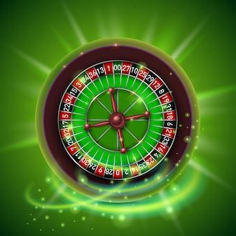 Realistisches casino-glücksspiel-roulette-rad, isoliert auf grünem hintergrund. vektor-illustration