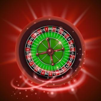 Realistisches casino-glücksspiel-roulette-rad, isoliert auf rotem hintergrund. vektor-illustration