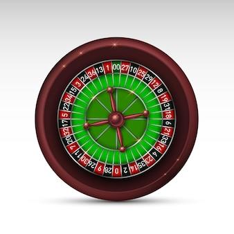 Realistisches casino-glücksspiel-roulette-rad isoliert auf weißem hintergrund. vektor-illustration