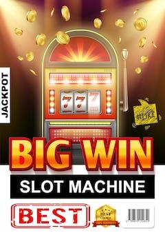Realistisches casino leichtes glücksspielplakat mit spielautomat und fallender goldmünzenillustration